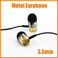 Free shipping  3.5mm Metal Earphone Subwoofer bass in-ear headphone clear voice Free Zipper bag