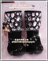 2014 winter women Snow boots waterproof genuine leather boots pearl rhinestone shoes fox fur bootsaustralian sleepskin boots