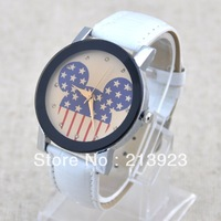 Fashion Cartoon Diamond Cutting Mirror Leather Band Women Girl Lady Quartz Wrist Watch
