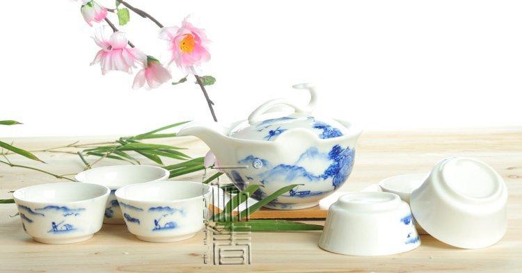 7pcs Deluxe Tea Set Porrtery Teaset A2TQ04 Free Shipping