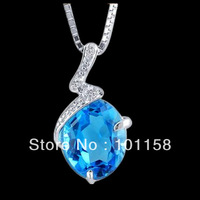Fashion Korean  style jewelry,sterling  silver  925 Topaz necklace  pendants ,wedding gifts,SP0105B