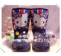 2013 winter women Snow boots waterproof genuine leather boots cute rhinestone hello kitty shoes australian sleepskin boots