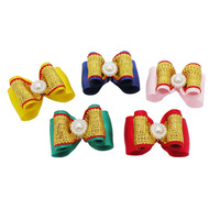 Handmade Accessories For Dog Cute Mini Corolla Ribbon Hair Bow  Supplies For Pets.