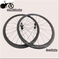 Free Shipping Ceramic Bearing Full Carbon Wheels 700C  38mm Clincher Road/Racing Carbon Wheelset