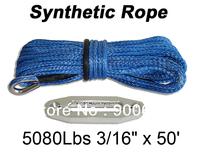 "3/16"" x 50' Synthetic Winch Cable Rope 3000 4000 5000Lbs ATV UTV Blue + Hawse Fairlead"
