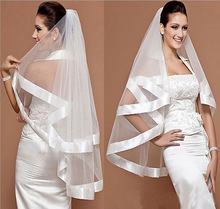 Charming Bridal Veil Wedding Mantilla Wide Ribbon Satin Trim Edge 2 Layer White Free&Drop Shipping(China (Mainland))