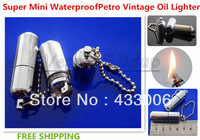 Free Shipping New Super Mini Waterproof Cigarette Petro Lighter Vintage Oil Lighter Metal Flame Lighter Keychain
