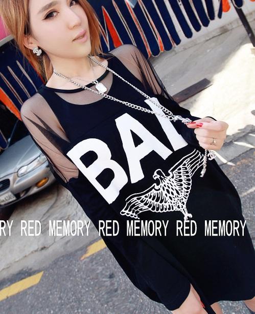 L1754 Women Girl Bad Eagle Mesh Stitching Loose Sleeve Top Blouse Hoodie ~Black~(China (Mainland))