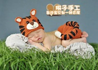 Handmade Tiger Animals Hats Caps Beanies and Cover Baby Newborn Photography Props Crochet Costume Set Props For 0-3 Months