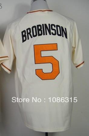 Free shipping Cheap,#5 Brobinson Men's Beige 2014 New Embroidery sewing logos Baseball jerseys Sale.ot Promotion!(China (Mainland))