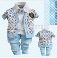 new 2014 boys spring-autumn plaid cardigan with bow tie clothing sets 3pcs kids apparel children clothes set infant suit