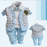 retail boys spring-autumn plaid cardigan with bow tie clothing sets 3pcs kids apparel children clothes sets free shipping
