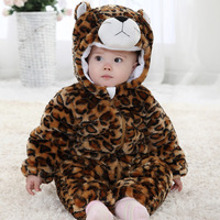 Autumn and winter thickening male one piece leopard style clothes baby clothes 6 1 - 2 years old