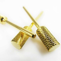 2pcs/Lot Golden Electric Durable Cylinder Carbide Nail Drill Bit for Nail Art Manicure DIY A3119 Free Shipping
