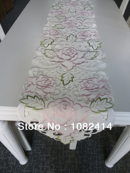 Free shipping,2014 Spring new table runner table linen with rose flower embroidered handmade cuttings, table decorative(China (Mainland))