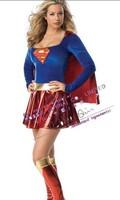 Free shipping women costume superwoman dress Supergirl dress Halloween clothes superman clothes