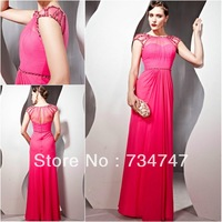 2014 New Arrival A-Line Chiffon Evening Dress Formal Gown Sheer Neck Beading Sequins Cap Sleeves Zipper Back Floor Length Classy