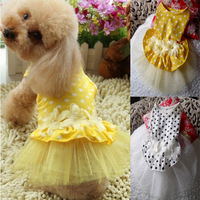 Free shipping Dog Polka Dot Tutu Dress Flower Lace drss Cute Pet Cat Princess Clothes Dress