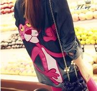 2014 New Jeans Women korean Fashion Cute Pink Leopard Cartoon Print Blue Blouse Long Denim Shirts S/M/L Free Shipping Nora05010