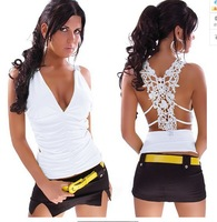 New fashion 2014 lace decoration fashion sexy sleeveless deep V-neck women's t-shirt ladies tees
