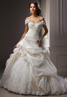 New white/ivory wedding dress Taffeta Off-the-shoulder Custom-Made Bridal Gown