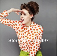 Free shipping 2014 Spring new European-style Temperament cultivate one's morality lapel long-sleeved chiffon printing  blouse