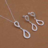 Free Shipping 2014 New Arrival 925 Silver Jewelry Sets Top Quality water drop Necklace&earring Set,factory price wholesale S422