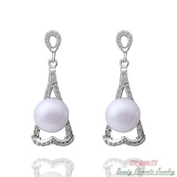 Flower White Platinum Gold Plated Dangle Drop Earrings with Freshwater Pearl Jewelry Made With Swarovski Austrian Rhinestone E27