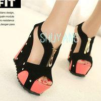 Free Shipping New 2014 Fashion women Rivet High Heel Platform Club Sandalias Shoes Suede Wedge Sandals Boots Shoes US8