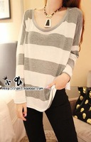 Women Fashion Round Neck Full Batwing Sleeve Solid Striped Decor Thin Pullover Sweater Free Shipping S218-1642