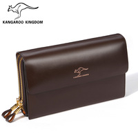 Kangaroo male bag cowhide clutch day clutch casual commercial clutch male big wallet man bag