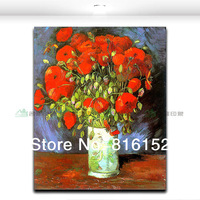 Unique Gift Van Gogh Famous Painting Works Vase of Red Poppies Home Decorative Painting Free Shipping