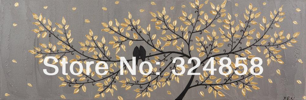 Enormes pássaros Pintura amor na filial de árvore da paisagem pintura a óleo sobre tela da faca de paleta Pintura Moderna Home Decor Wall Art 019(China (Mainland))