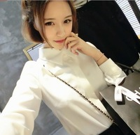 Women Fashion Turn-down Collar Full Sleeve Single Beading Decor Solid Slim Waist Tops Shirt Free Shipping S218-1723