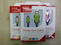High Speed USB Charge Sync Cable Data Cable With Retail Box For Samsung Galaxy Note2 N7100 HTC MOT NOK Free Shipping