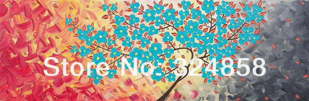 Enorme pintura amor ramo de árvore pintura a óleo da paisagem sobre tela faca de paleta pintura moderna(China (Mainland))