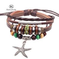 New 2014 Designer Jewelry Handmade Vintage Fashion Starfish Pendant Punk Handmade Braided rope Genuine Leather Bracelets Bangles