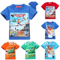 autumn -summer fashion 2014 planes cartoon children t shirts,kids t-shirt,toddler baby boys short sleeves tops tees Retail