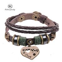2014 New Vintage Style Friendship Weaving Genuine Leather Wrap Bracelet Fashion Jewelry Handmade Unisex Classic LOVE Bracelets