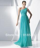 Top Sale Green Turquoise One-shoulder A-line Floor-length Zipper Back Long Chiffon Bridesmaid Dresses 2014