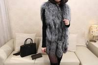 100% high quality silver fox woman long fur jacket