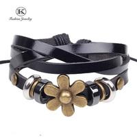 2014 New Vintage Style Friendship Weaving Genuine Leather Wrap Bracelet Fashion Jewelry Bead Handmade Unisex Bracelet