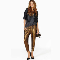 Bling gold elastic slim harem pants elastic waist ankle length trousers haoduoyi