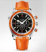 2013 brand new automatic watch two tone mens watches chronograph sport watches orange strap