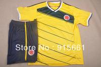 Free shipping 2014 new colombia JAMES/FALCAO home yellow soccer jerseys kit futbol shirts thailand quality