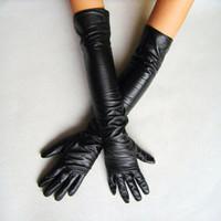 New 2014 Black Long Leather Gloves 40cm & 50cm Women's Gloves Winter Fashion Ladies Dance Leather Gloves For women