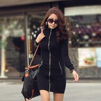 Fashion zipper decoration slim long-sleeve hip one-piece dress black outerwear clothing women plus size