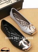 European Square toe flat non slip leisure flat heeled Ballet Flats shoes black grey Women shoes Free Shipping Large size 35--42