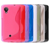Soft Skin Gel TPU S Line Grip Soft Cover Case For LG D820 Nexus5 mobile phone case fits Nexus 5 Case free shipping