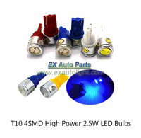 Wholesale 100pcs/lot 2.5W High Power 4 SMD LED Car T10 W5W 194 927 161 Side Wedge Light Lamp Bulbs 12V Free Shipping